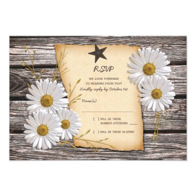 Rustic Country Daisy Wedding Reply Card Personalized Invites