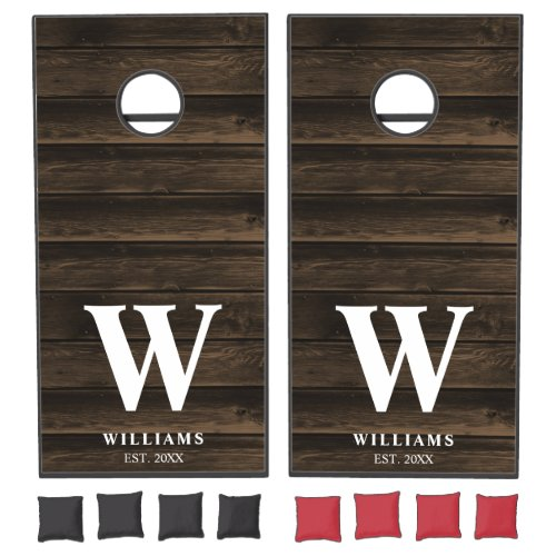 Rustic Country Dark Barn Wood Personalized Cornhole Set