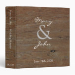 Rustic country dark barn wood Wedding binder