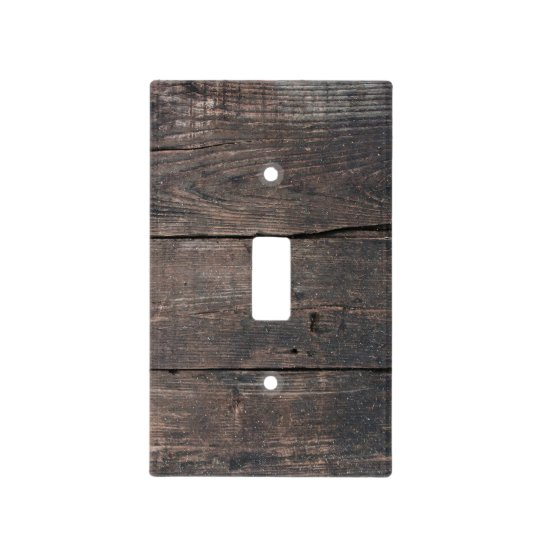 Rustic Country Dark Brown Distressed Wood Light Switch Cover
