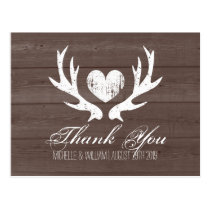 Rustic country deer antler wedding thank you cards