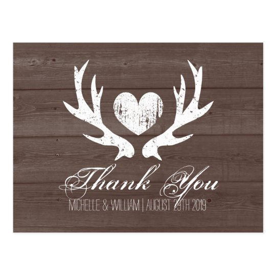 Rustic Country Deer Antler Wedding Thank You Cards Zazzle Com