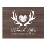 Rustic country deer antler wedding thank you cards postcard