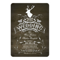Rustic Country Deer Antlers Barn Wedding Card