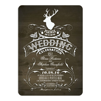Rustic Country Deer Antlers Barn Wedding Card