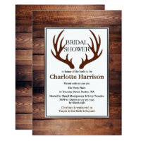 Rustic Country Deer Antlers Bridal Shower Invitation