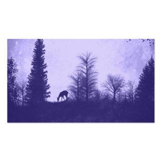 Rustic Country Deer in Trees Purple Business Card
