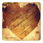 Rustic Country Distressed Heart Wedding Invitation