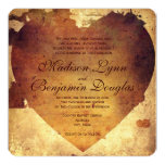 "Rustic Country Distressed Heart Wedding Invitation 5.25"" Square Invitation Card"