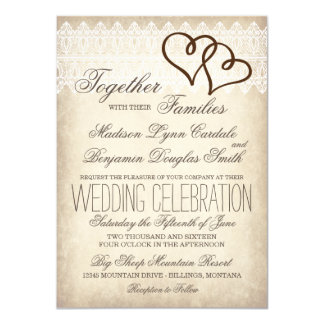 "Rustic Country Double Hearts Wedding Invitations 4.5"" X 6.25"" Invitation Card"
