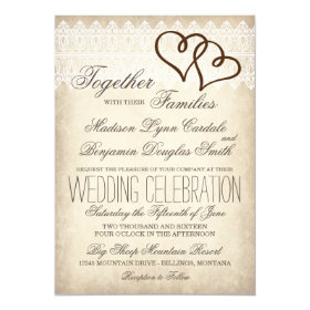 Rustic Country Double Hearts Wedding Invitations
