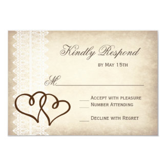 "Rustic Country Double Hearts Wedding RSVP Cards 3.5"" X 5"" Invitation Card"