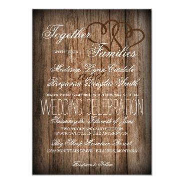 RusticCountryWedding Rustic Country Double Hearts Wood Wedding Invites