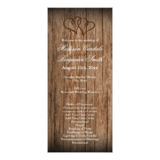 Rustic Country Double Hearts Wood Wedding Program