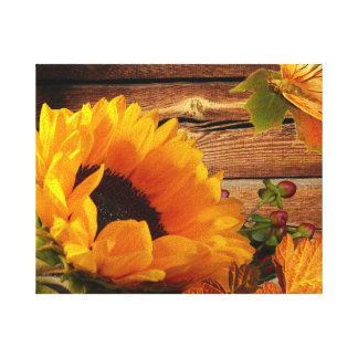 Rustic Country Fall Sunflower Butterfly Foliage Stretched Canvas Print