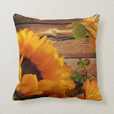 Rustic Country Fall Sunflower Butterfly Foliage Pillows