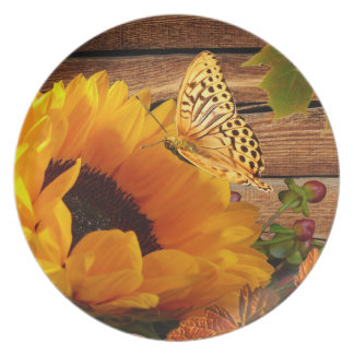 Rustic Country Fall Sunflower Butterfly Foliage Dinner Plates