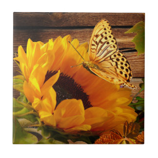 Rustic Country Fall Sunflower Butterfly Foliage Small Square Tile