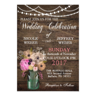 Rustic Country Fall Winter Autumn Wedding Mason Ja Card