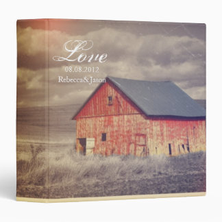 Rustic country farm red barn wedding 3 ring binder