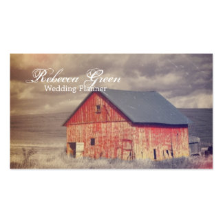 Rustic country farm red barn wedding business card