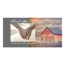 Rustic country farm red barn wedding card