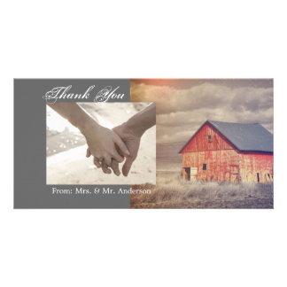 Rustic country farm red barn wedding card
