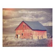 Rustic country farm red barn wedding letterhead