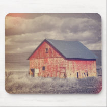 Rustic country farm red barn wedding mouse pad