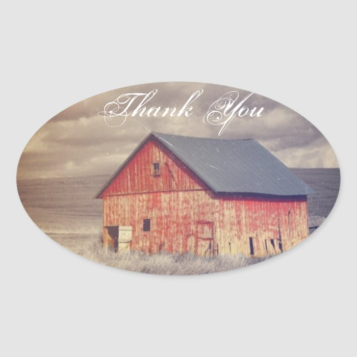 Rustic country farm red barn wedding oval sticker