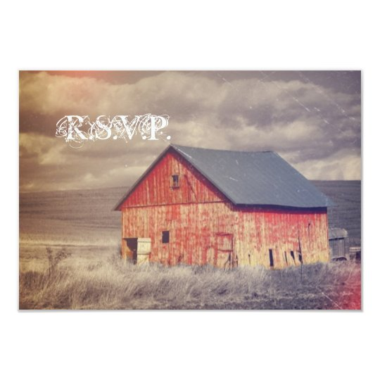 Rustic country farm red barn wedding RSVP response Card