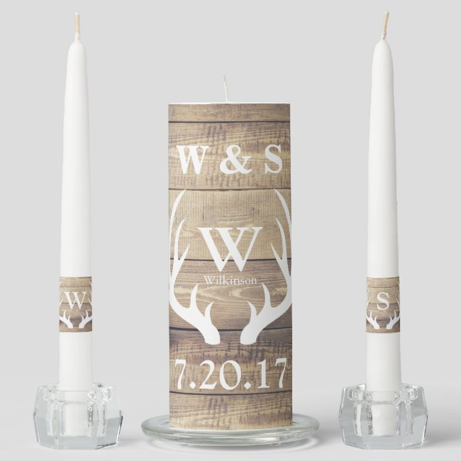 Rustic Country Farmhouse Deer Antlers Wedding Unity Candle Set