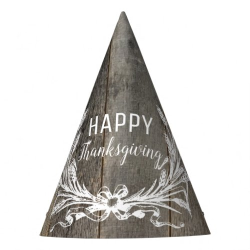 rustic country farmhouse wood happy thanksgiving party hat