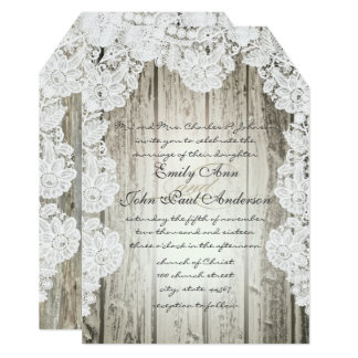Rustic Country Faux Lace Barn Wood Wedding Card
