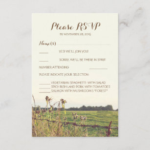 Rustic Country Fence Wedding Reply Cards