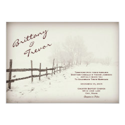 Rustic Country Fence Winter Wedding Invitations 4.5