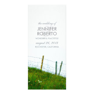 Rustic Country Fiels Fence Post Wedding Program