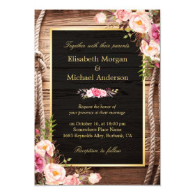 Rustic Country Floral Barn Wood Wedding Invitation