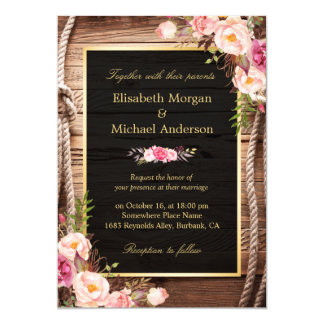 Rustic Country Floral Barn Wood Wedding Invitation