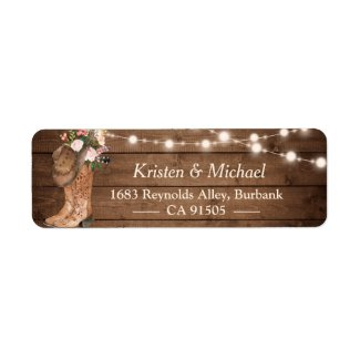 Rustic Country Floral Boots String Lights Address Labels
