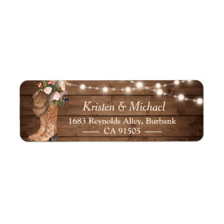 Rustic Country Floral Boots String Lights Label