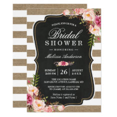 Rustic Country Floral Burlap Stripes Bridal Shower Card at Zazzle