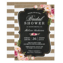Rustic Country Floral Burlap Stripes Bridal Shower Invitation