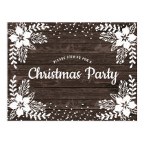 Rustic Country Floral Christmas Party Invitation Postcard
