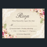 """Rustic Country Floral Lace Burlap Meal Choice RSVP Card<br><div class=""""desc"""">================= ABOUT THIS DESIGN ================= Rustic Country Floral Lace Burlap Meal Choice RSVP Reply Card. (1) You are able to change the Burlap Color by setting different background colors. For further customization, please click the &quot;Customize&quot; button and use our design tool to modify this template. All text style, colors, sizes...</div>"""