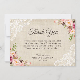 Rustic Country Floral Lace Burlap Thank You
