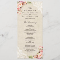 Rustic Country Floral Lace Burlap Wedding Program