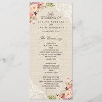 Rustic Country Floral Lace Burlap Wedding Program
