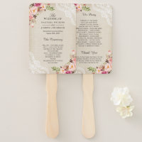 Rustic Country Floral Lace Burlap Wedding Program Hand Fan