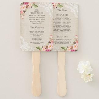 Rustic Country Floral Lace Burlap Wedding Program Hand Fan